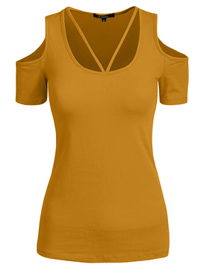 BASIC STRING OPEN SHOULDER SHORT SLEEVE T-SHIRTS NEWT198