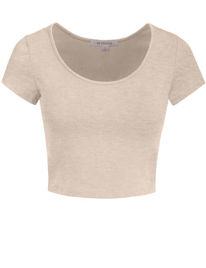 BASIC SHORT SLEEVE SCOOPNECK CROP TOP NEWT199