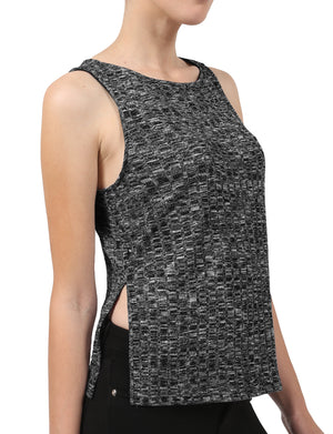 LIGHT WEIGHT BASIC SLEEVELESS RIBBED TANK TOP WITH ROUND NECK NEWT207