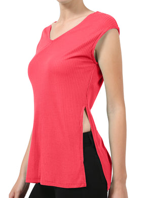 CASUAL RIBBED CAP SLEEVE V-NECK TANK TOP SHIRT NEWT208