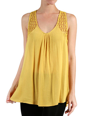LIGHT WEIGHT LACE SLEEVELESS TUNIC BLOUSE TANK TOP NEWT215