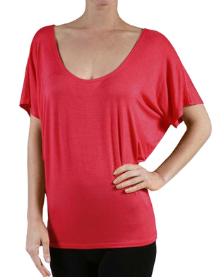 FLOWY DRAPED SHORT SLEEVE BOATNECK DOLMAN SHIRTS NEWT216