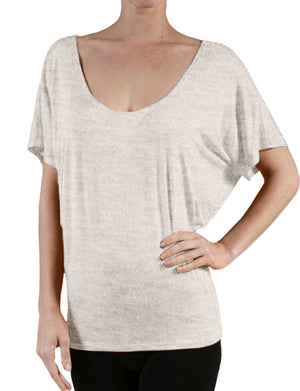 FLOWY DRAPED SHORT SLEEVE DOLMAN SHIRTS NEWT216 PLUS