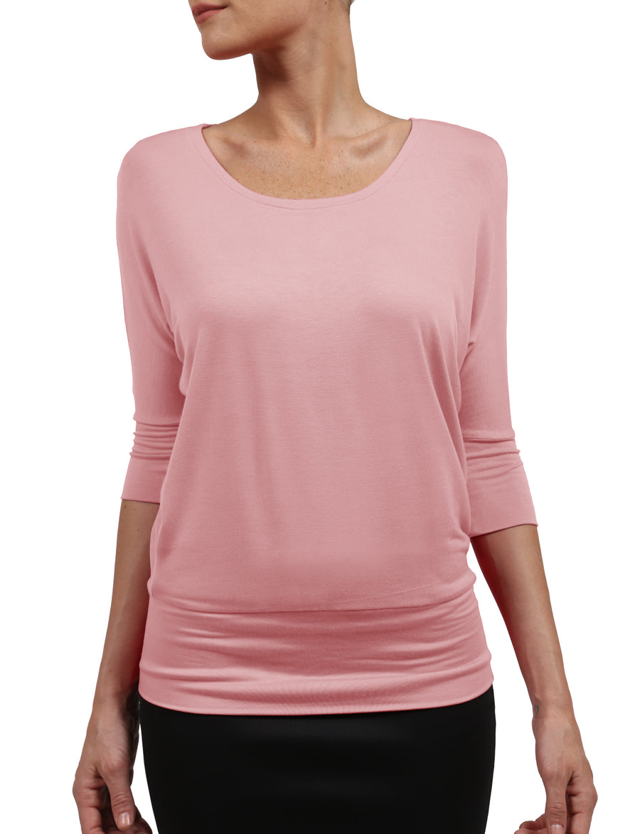 SUPER SOFT 3/4 SLEEVE BATWING DOLMAN TOP WITH STRETCH NEWT228