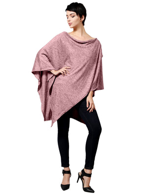 WOMEN'S ROUND NECK KNIT SWEATER ASYMMETRIC PONCHO TOPPER NEWT281