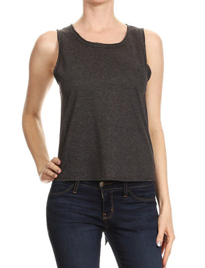LIGHT WEIGHT TERRY SLEEVELESS TOP WITH OPEN BACK NEWT283