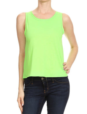 LIGHT WEIGHT TERRY SLEEVELESS TOP WITH OPEN BACK NEWT283 PLUS