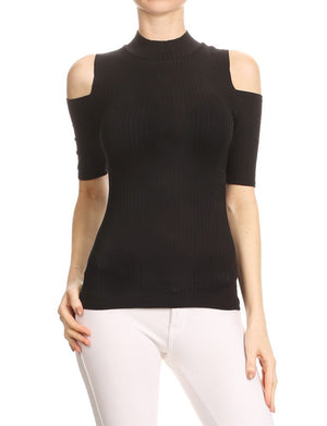 CASUAL OPEN SHOULDER SHORT SLEEVED FITTED RIBBED TOP NEWT284 PLUS