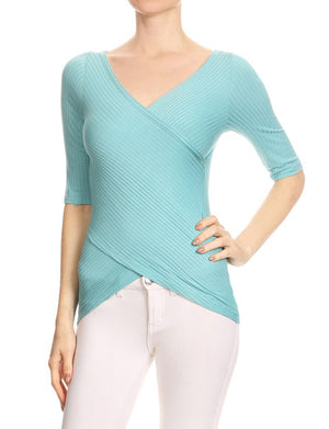 CASUAL 3/4 SLEEVE SLIM FITTED RIBBED WRAP TOP NEWT285