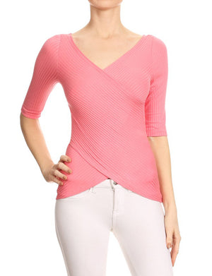 CASUAL 3/4 SLEEVE SLIM FITTED RIBBED WRAP TOP NEWT285 PLUS