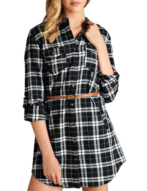 LONG SLEEVE FLANNEL CHECK PLAID SHIRTS DRESS WITH BELT NEWT288