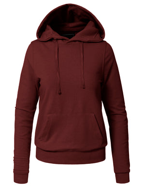 WOMEN BASIC SOLID COMFORTABLE PULLOVER HOODIE NEWT29 PLUS