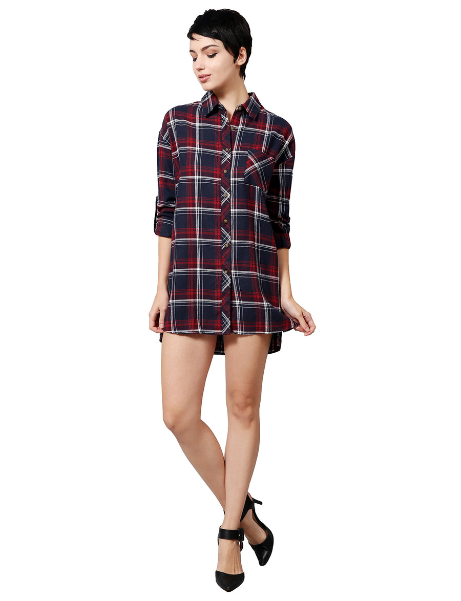 3/4 ROLL UP SLEEVE PLAID BELT-SHIRTS DRESS NEWT291