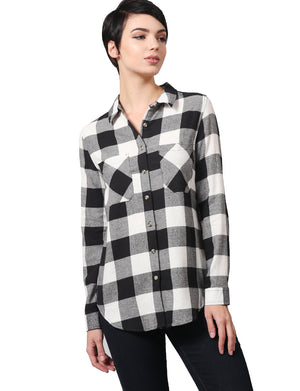 LONG SLEEVE FLANNEL CHECK PLAID SHIRTS DRESS WITH BELT NEWT292