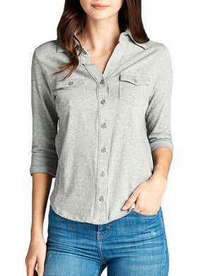 WOMEN'S COZY HALF SLEEVE BUTTON DOWN SHIRTS WITH SIDE RIB PANEL NEWT293