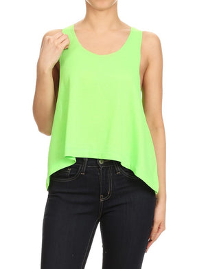 CASUAL LIGHT WEIGHT VIVID TERRY SLEEVELESS LOOSE TOP NEWT296 PLUS