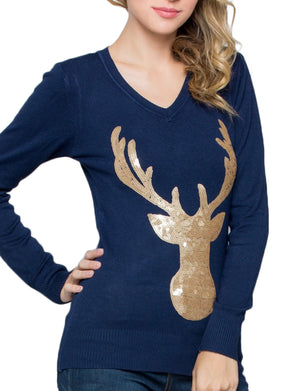 RUDOLPH LONG SLEEVE FLAT SEQUINS TOP SWEATER NEWT305