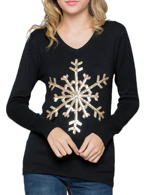 SNOW FLAKE SEQUINS LONG SLEEVE TOP SWEATER NEWT306