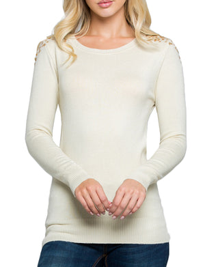 SHOULDER SEQUINED SPANGLE LONG SLEEVE SWEATER TOP NEWT307