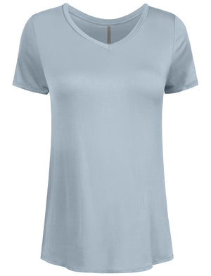 BASIC SIMPLE SHORTS SLEEVE V-NECK SPANDEX T-SHIRTS NEWT308
