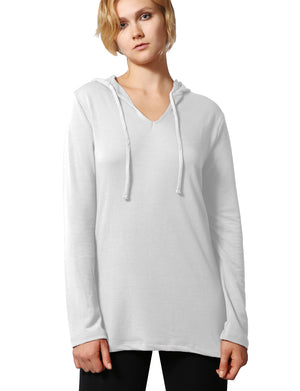 LONG SLEEVE V-NECK DRAWSTRING HOODIE FRENCH TERRY TOP NEWT313