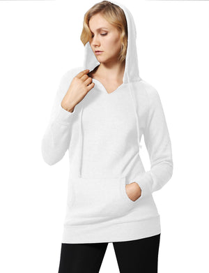 WOMEN BASIC SOLID COMFORTABLE PULLOVER HOODIE NEWT315