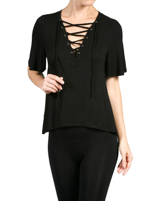 WOMEN'S SEXY PLUNGE DEEP V-NECK LACE UP SHORT SLEEVE TOP NEWT319