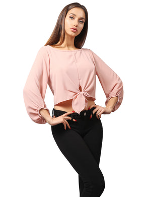 3/4 SLEEVE MODISH CHIFFON BLOUSE CROP TOP WITH FRONT TIE NEWT337