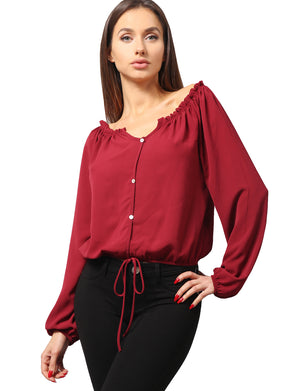 SEXY LONG SLEEVE CHIFFON OFF SHOULDER BUTTON BLOUSE TOP NEWT338