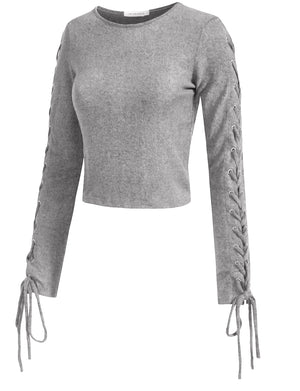 LACE UP RIBBED LONG SLEEVE HOLLOW OUT SWEATER KNIT T-SHIRTS NEWT346