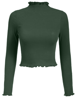 FITTED CAUSAL SOLID FLARE LONG SLEEVE SOFT CROP TOP T-SHIRTS NEWT349