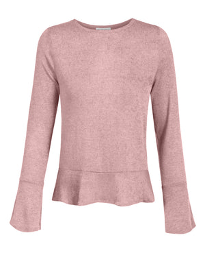 CAUSAL SOLID FLARE LONG SLEEVE SOFT KNIT SWEATER TOP NEWT350