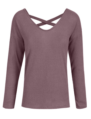 LOOSE FIT ROUND NECK CRISS CROSS SOFT KNIT SWEATER TOP NEWT351