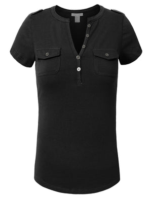 HENLEY SHORT SLEEVE AND BUTTON PLACKET NEWT36