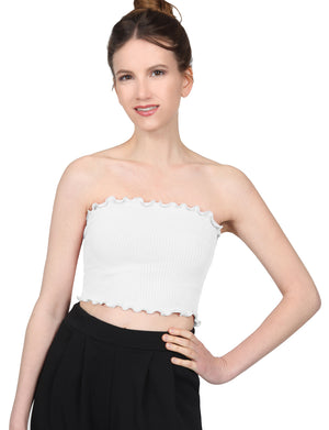 STRETCH FITTED RIBBED RUFFLE HEM SPANDEX SHIRTS CROP TUBE TOPS NEWT374