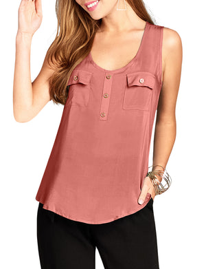 CASUAL LIGHT WEIGHT SLEEVELESS BUTTON RAYON TANK TOP NEWT380