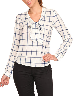 CUFFED LONG SLEEVE PLAID PRINTED FRONT TIE BOW BLOUSE SHIRTS NEWT387
