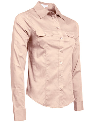 FITTED TAILORED LONG SLEEVE BUTTON DOWN STRETCH SHIRTS NEWT507 PLUS