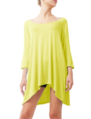 3/4 SLEEVE WIDE ROUND NECK FLARE TUNIC TOP NEWT66