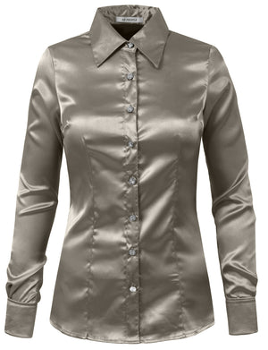 LIGHT WEIGHT LONG CUFF SLEEVE BUTTON DOWN SATIN SHIRTS NEWT74