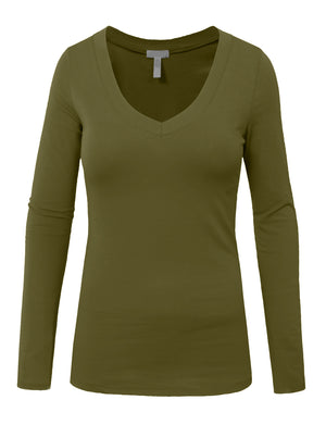 LIGHT WEIGHT BASIC LONG SLEEVE V-NECK CASUAL T-SHIRTS NEWT77 PLUS