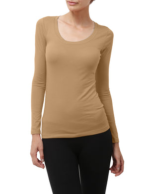 LIGHT WEIGHT BASIC LONG SLEEVE ROUND SCOOP NECK SHIRTS NEWT79 PLUS