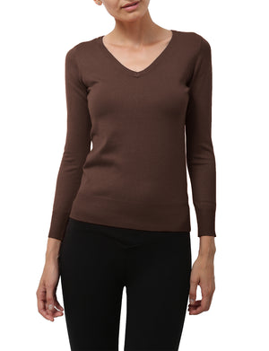 LIGHT WEIGHT BASIC LONG SLEEVE V-NECK PULLOVER KNIT SWEATER NEWT80 PLUS