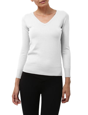LIGHT WEIGHT BASIC LONG SLEEVE V-NECK PULLOVER KNIT SWEATER NEWT80