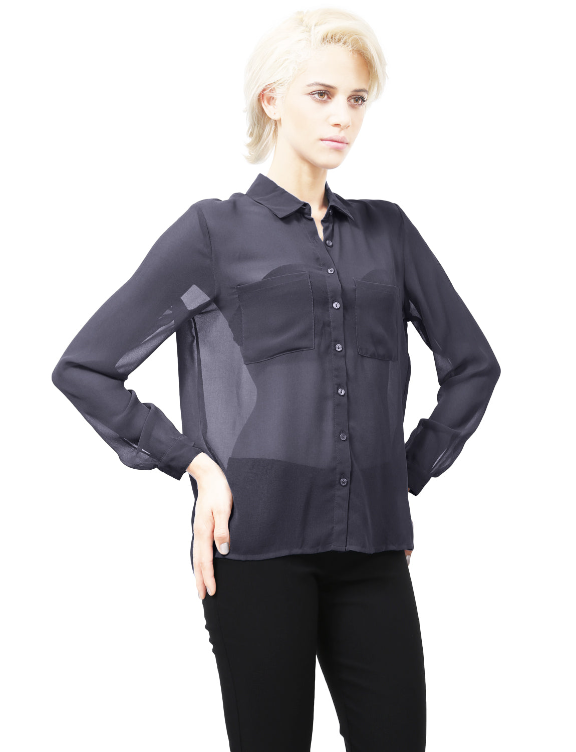 fe270da96 SHEER CHIFFON LONG SLEEVE BUTTON DOWN BLOUSE WITH CHEST POCKETS - NE ...