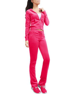 VELOUR HOODIE AND SWEATPANTS TRACKSUIT SET