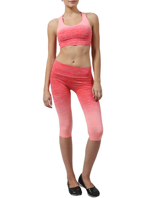 LIGHT WEIGHT FUNCTIONAL SEAMLESS BRA TOP CAPRI LEGGINGS ACTIVE SET NEWWAS02