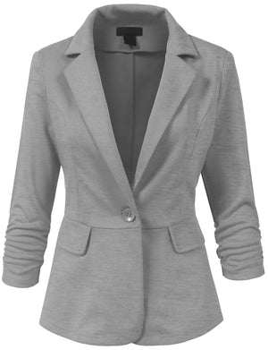 LIGHT WEIGHT PEPLUM 3/4 SHIRRING SLEEVE ONE BUTTON BLAZER JACKET NEWWJ106