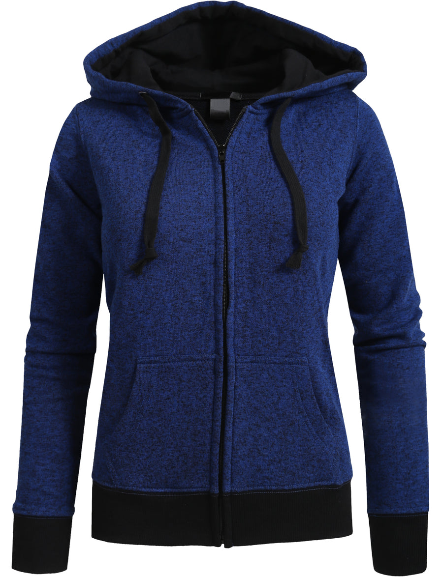 FLEECE HEATHERED ZIP-UP HOODIE NEWZ69