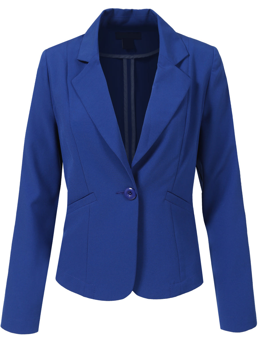 WOMEN LIGHT WEIGHT FIT LONG SLEEVE TAILORED ONE BUTTON BLAZER JACKET NNEWJ103